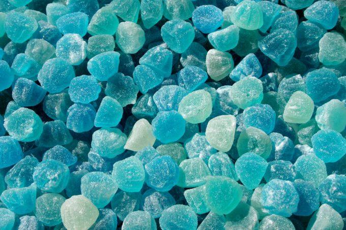 closeup of blue candy