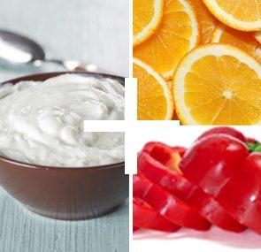 yogurt peppers oranges