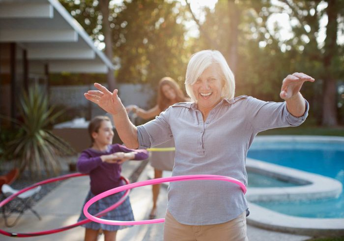 mature woman with hoop