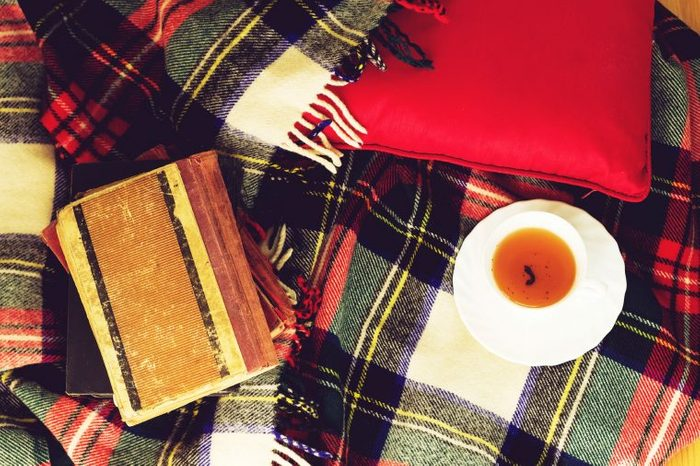 Plaid blanket with a cup of tea and notebook.