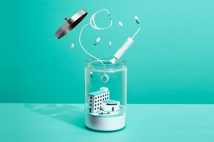 illustration of hospital in a jar