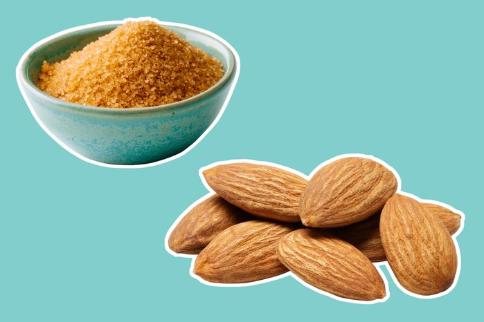 brown sugar in a bowl and whole almonds