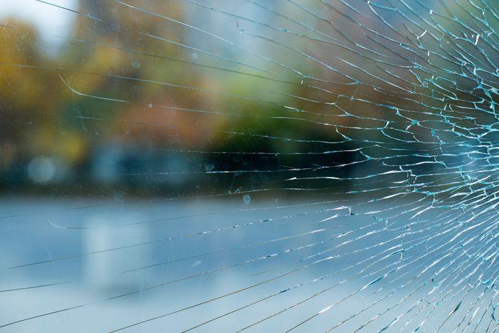 cracked but not yet broken glass window