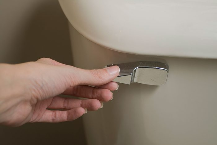 hand on toilet flush handle