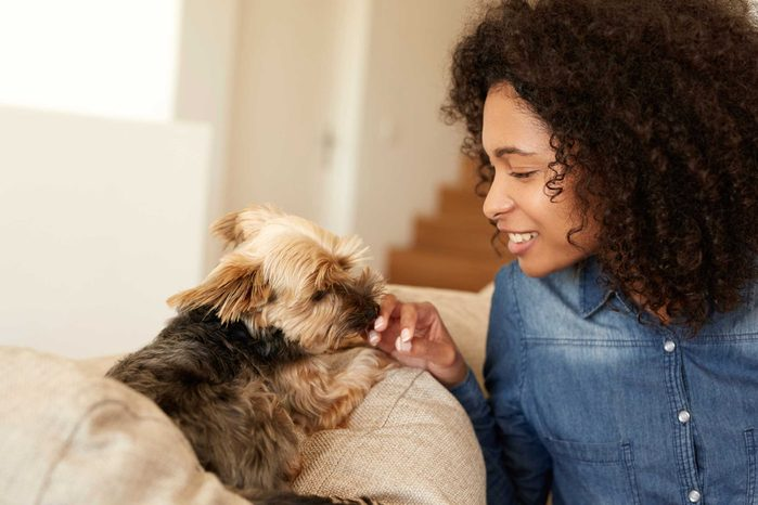 woman with a dog on the couch