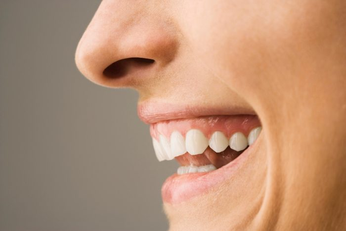 profile close up of woman's mouth