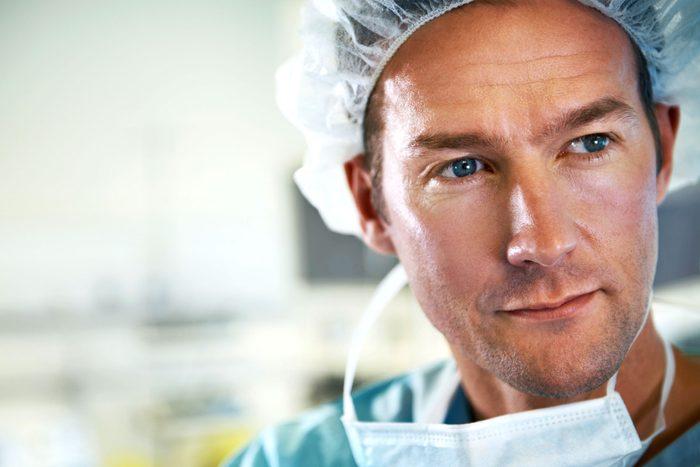 surgeon looking pensive