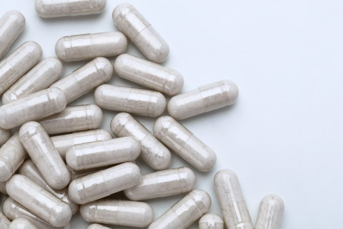 capsule pills on white background