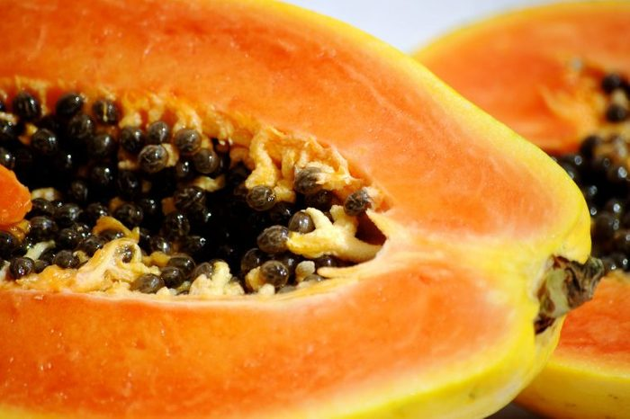 Papaya halves.