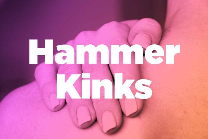 """Words """"hammer kinks"""" over image of hands rubbing shoulder"""