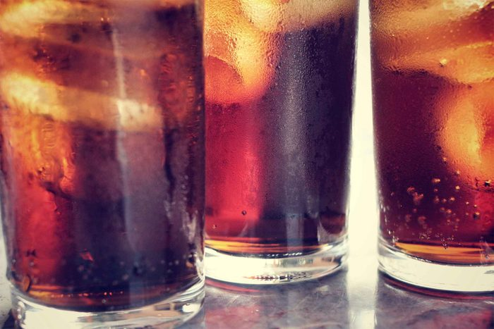 glasses of soda with ice