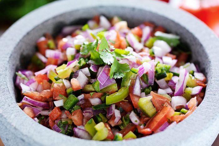 Colorful, chunky, homemade salsa.