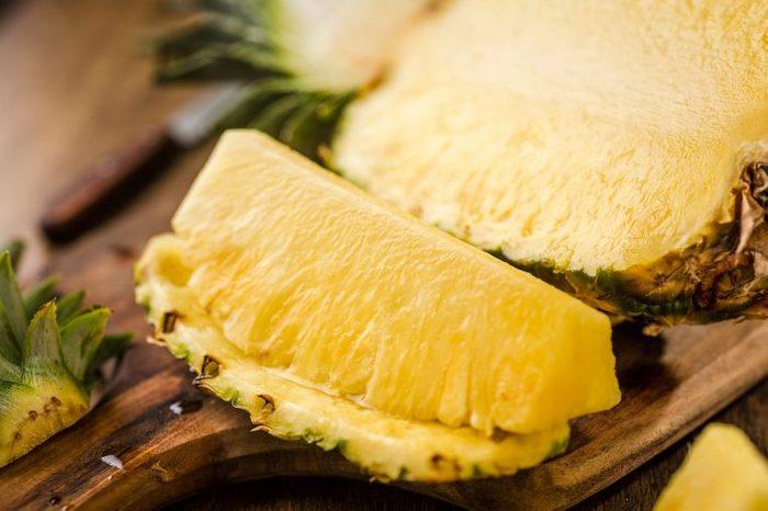 Sliced fresh pineapple.