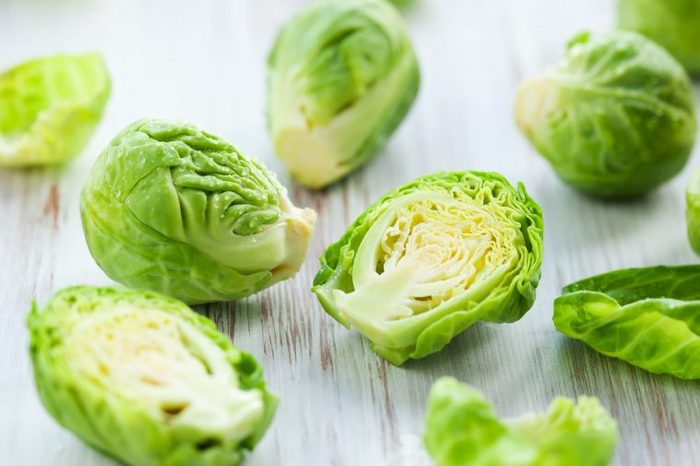 Sliced Brussels sprouts.