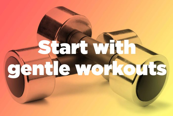 """Words """"start with gentle workouts"""" over hand weights"""