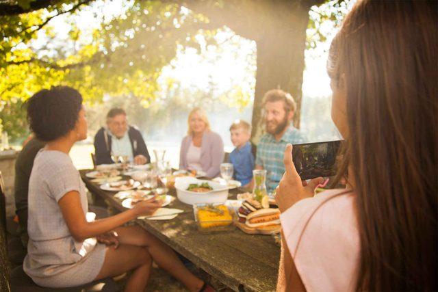 family sitting around table