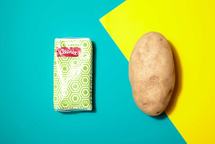 Illustration of portion control trick: tissue pack and potato