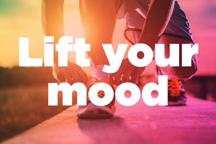 """Text on background image of runner: """"Lift your mood."""""""