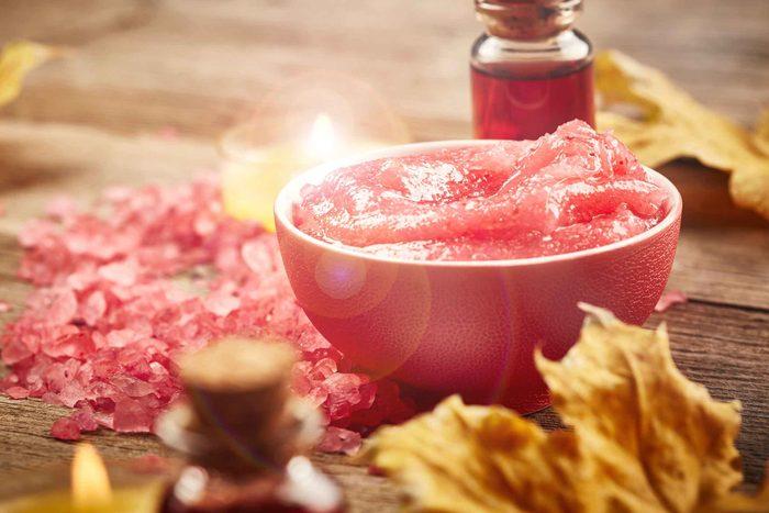 bowl of red exfoliator