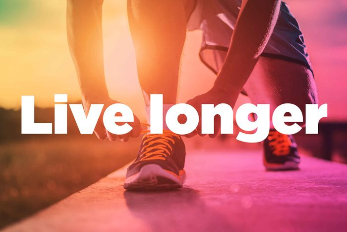 "Text on background image of runner: ""Live longer."""