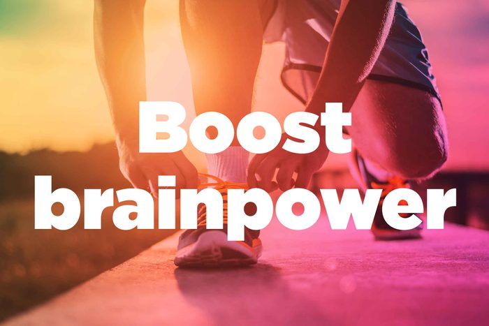 """Text on background image of runner: """"Boost brainpower."""""""