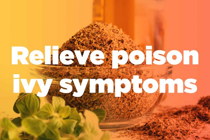 """graphic saying """"Relieve poison ivy symptoms"""""""