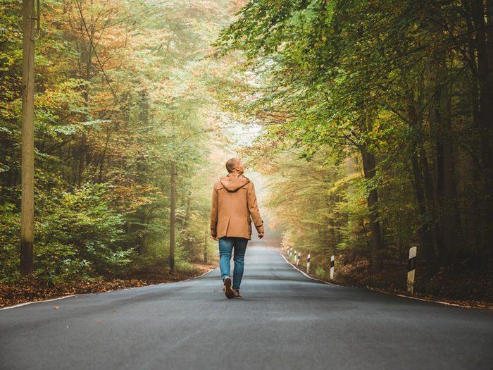 man taking his daily walk
