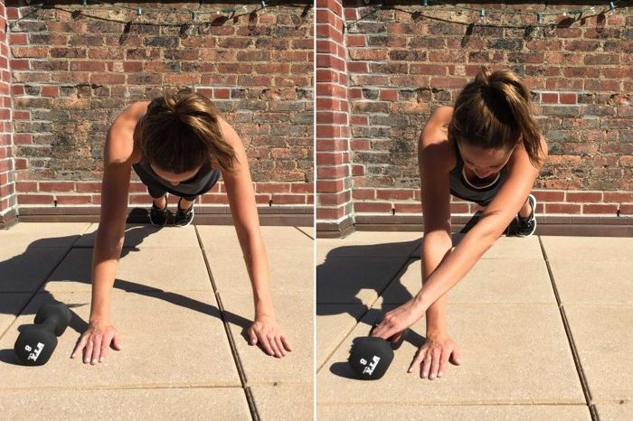 Woman doing alternating arm planks on the ground.