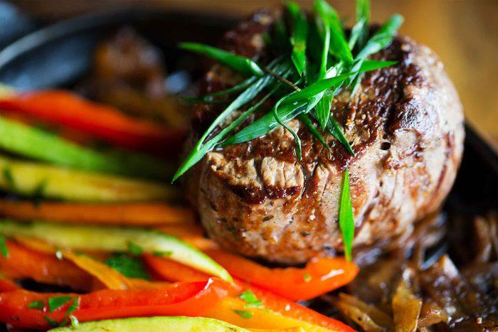 Steak and veggies.