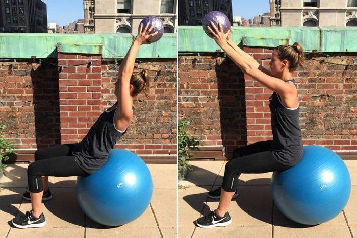 Woman doing a Swiss Ball with medicine ball throw.