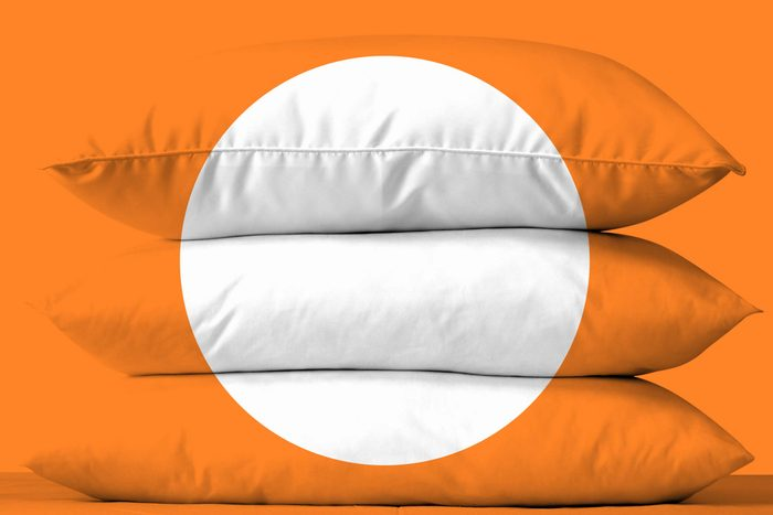 three stacked pillows