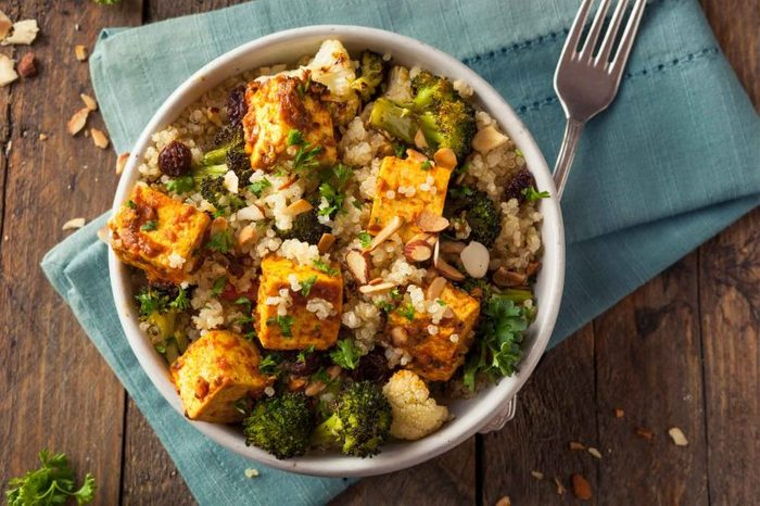 bowl of cooked tofu, rice, and veggies