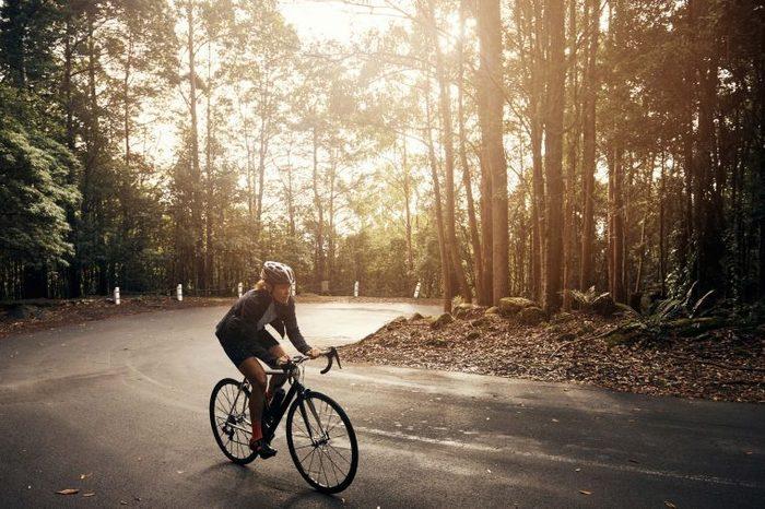 bike rider in the woods