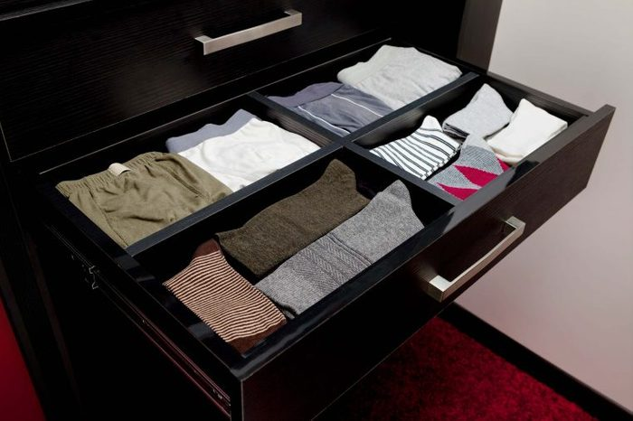Dresser drawer with underwear and compression socks