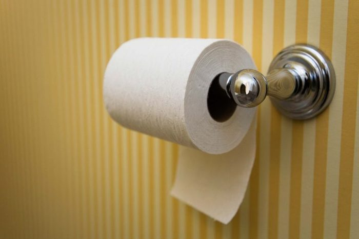 Toilet paper roll mounted on a yellow and white wallpapered bathroom wall.