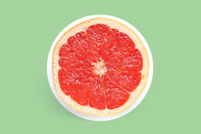 half of a ruby grapefruit