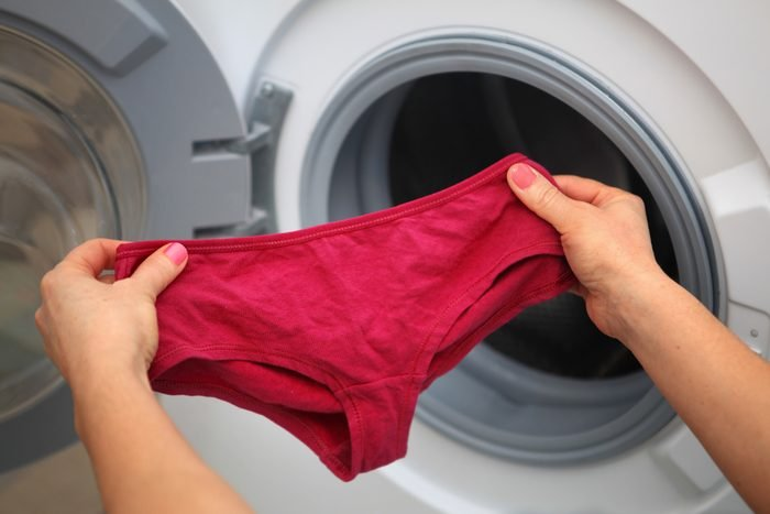 taking underwear out of the wash