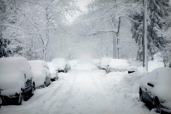 blizzard snowy street