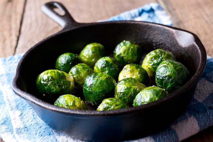 brussels sprouts in cast iron pan