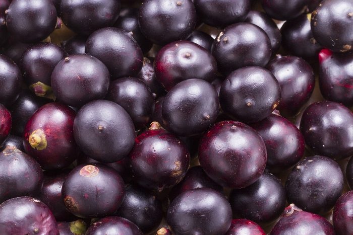 Close up of purple/blue acai berries