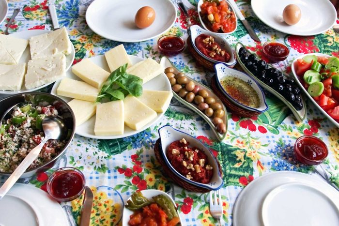 Table with delicious food