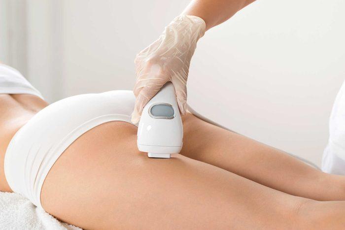 skin treatment on leg