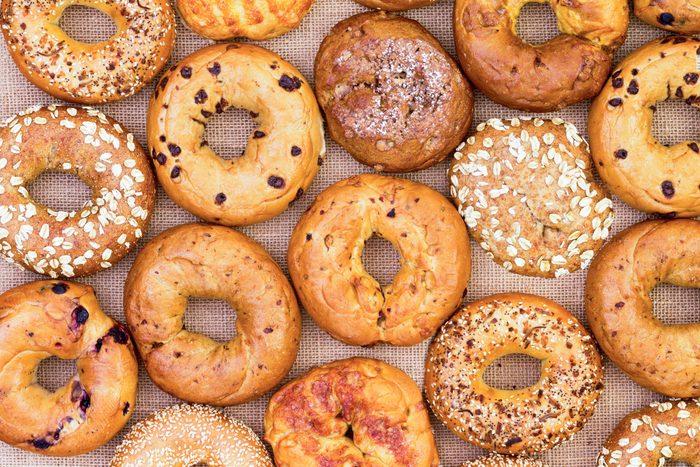 overhead shot of different bagel varieties