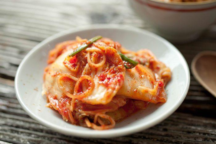 kimchi in a white dish