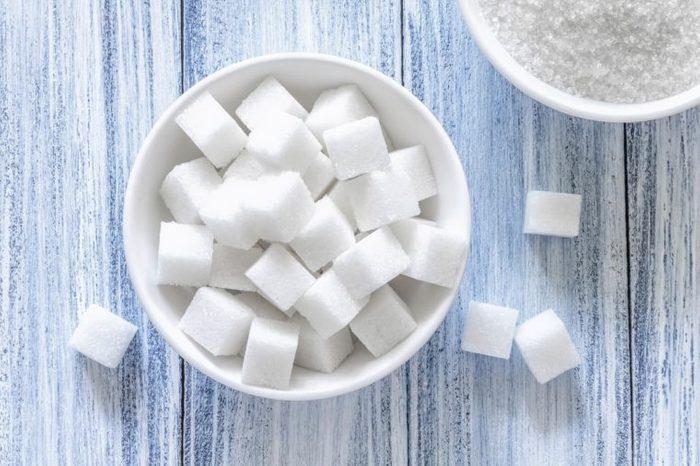 a bowl of sugar cubes
