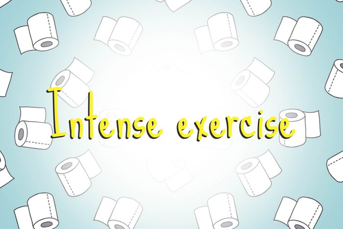 illustration of toilet paper rolls with words intense exercise