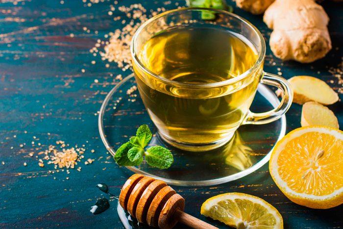 lemon water in cup