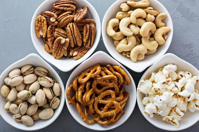 snacks with nuts and popcorn