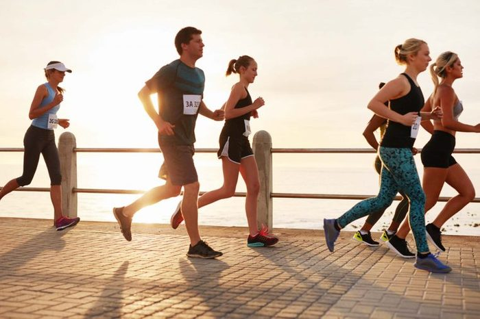runners on boardwalk