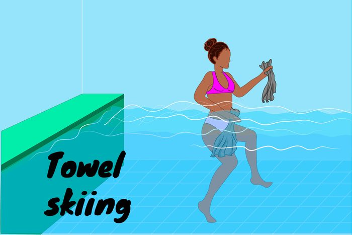 Graphic of a woman towel skiing in a pool.